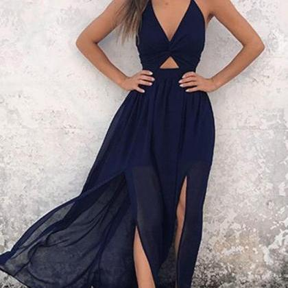 Floor-Length Backless Navy Blue Chi..