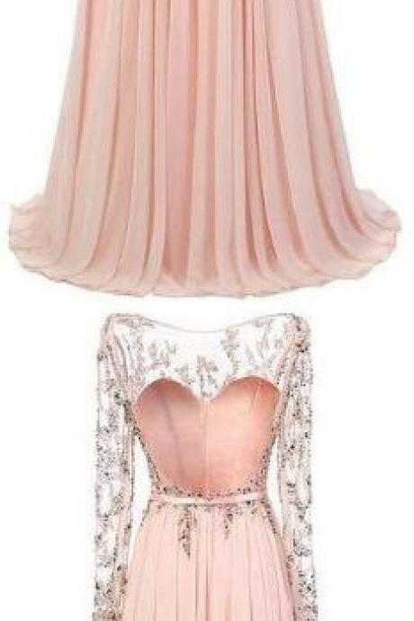 Floor Length Pink Chiffon Prom, Evening Dress With Long Sleeves, Long Prom Dresses, Sexy Prom Dresses