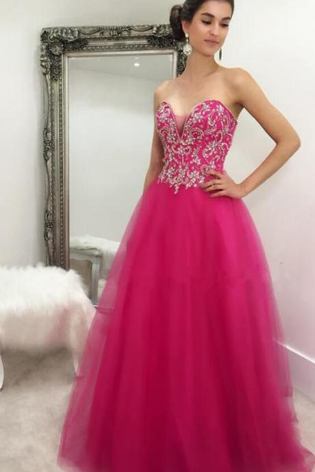 Sexy Tulle Beaded Prom Dress,Long Prom Dress,Sweetheart Prom Dresses ,sexy prom dress