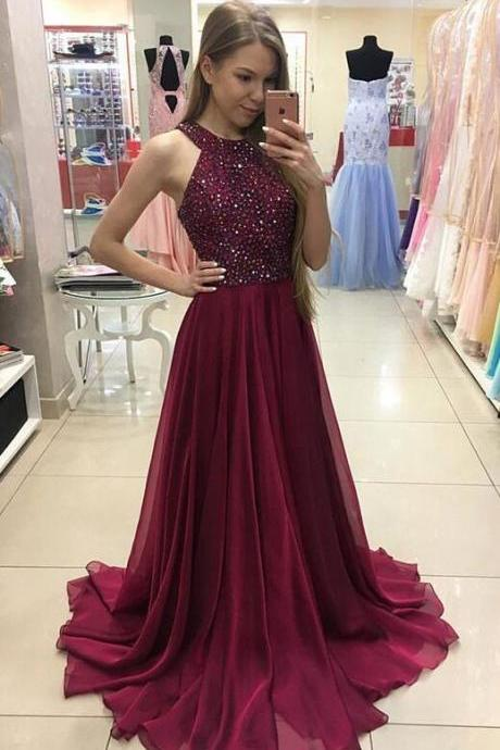 Burgundy Chiffon Prom Dress, Halter Prom Dress, Beading Long Prom Dress, Elegant Formal Dress, Burgundy Evening Dress