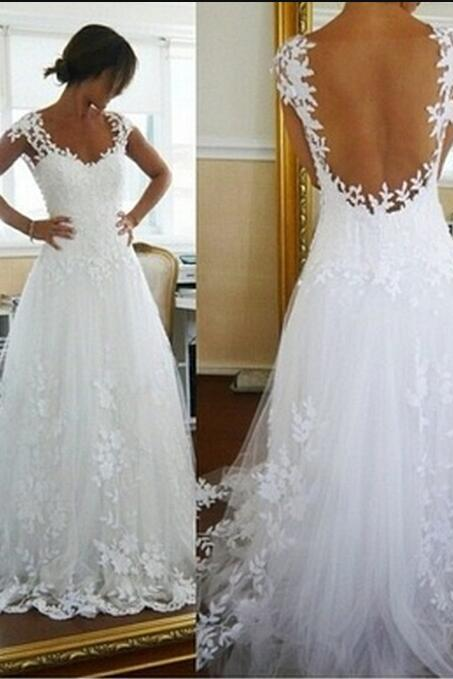 White Lace Wedding Dress, Long Formal Gown Elegant Women Lace Prom Dress,Bride Gowns