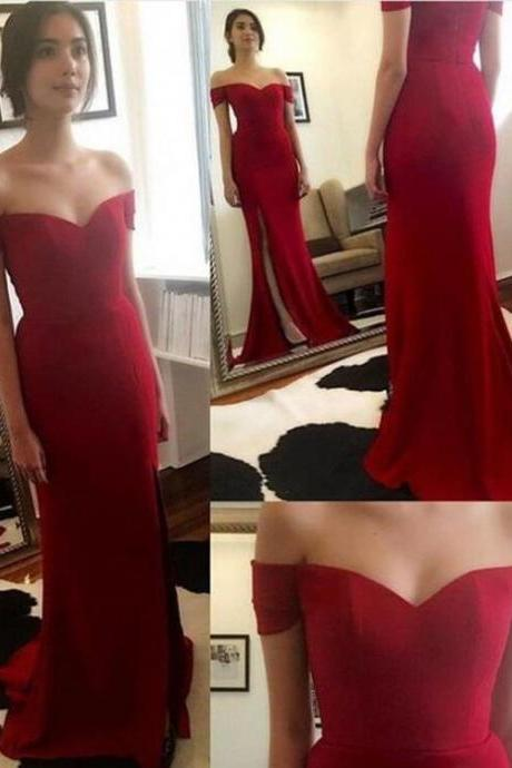 Off the Shoulder Red Prom Dresses, Floor-Length Prom Dresses, Long Evening Dress,Real Made Charming Evening Dresses