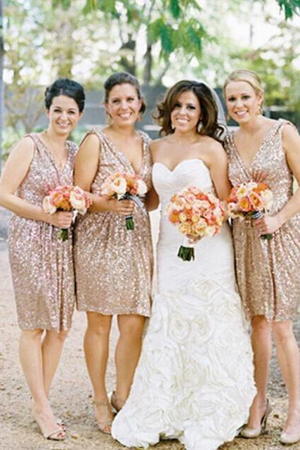 Gold Sequin Short Bridesmaid Dress, Sparkly Bridesmaid Dress, Cheap Bridesmaid Dress, Junior Bridesmaid Dresses, Wedding Party Dress