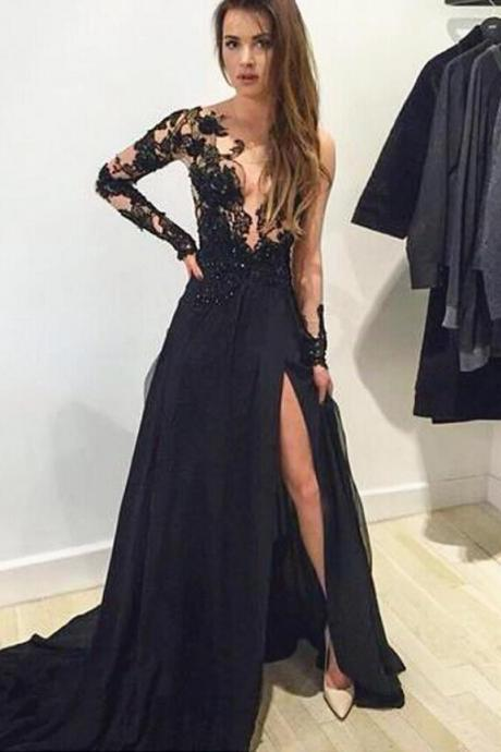 Sexy V neck lace and applique Black prom dress, Cheap Long Sleeve Chiffon Evening Dress