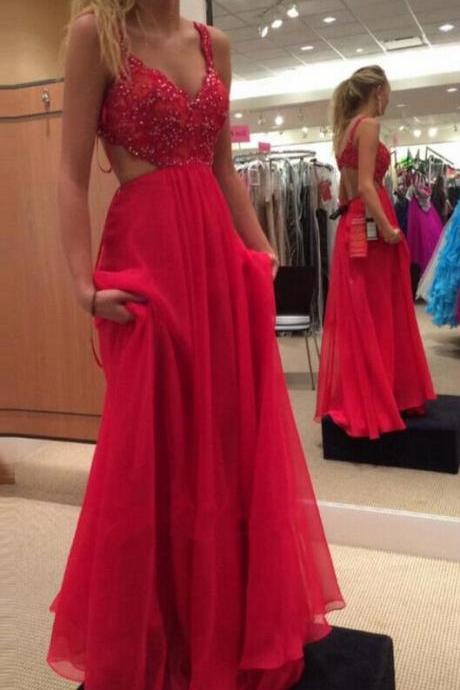 Sexy Red Beaded Prom Dress ,Cheap Sweetheart Straps Prom Dress With Cut Out Waist And Back