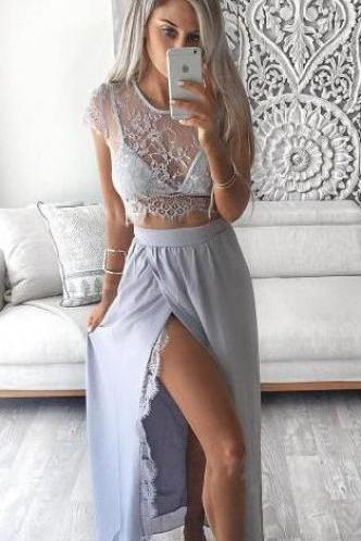 Two piece prom dress,Cheap Lace prom/evening dresses,cap sleeve formal dress with slit ,women dresses for evening
