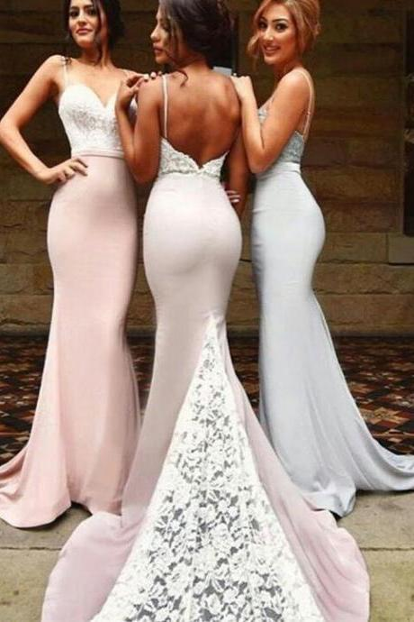 Sexy Spaghetti Long Bridesmaid Dresses , Mermaid Bridesmaid Dresses With White Lace, Wedding Party Dresses, Wedding Guest Dress, Prom Dresses