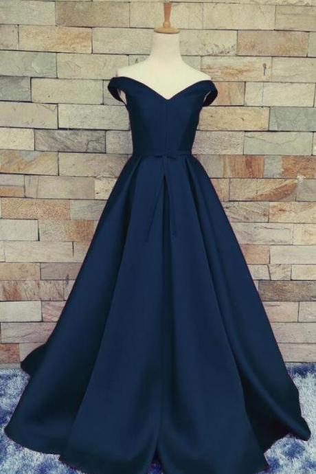 Off Shoulder Prom Dress,Navy Blue Prom Dress,Cheap Lace up Prom Dress,A Line Satin Ball Gown for Wedding