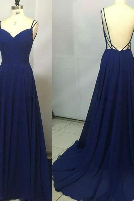 Royal Blue Prom Dress,Spaghetti Straps 2017 Custom Made Party Dress,Sleeveless Party Dress,High Quality