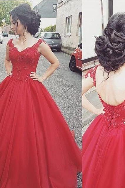 Cap Sleeve Princess Red Prom Dress, Cheap Ball Gown Prom Dress ,Formal Gown With Lace Appliques