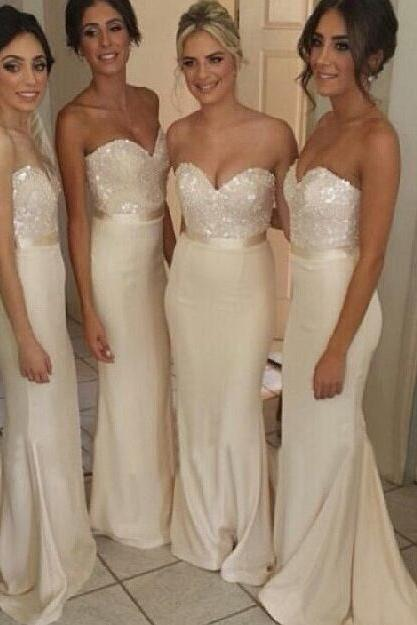 Beauty Satin Sweetheart Bridemsaid Dress,Ivory Bridesmaid Gown With Sequined Bodice