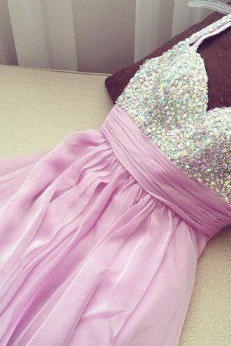 Sweetheart Crystals Chiffon Prom Dress, Cocktail Dress with Beadings,Graduation Dress