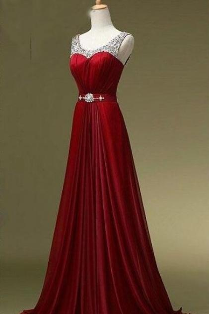 Wine Red Beaded Prom Dress,Floor Length Chiffon Prom Dress,Cheap Prom Gown