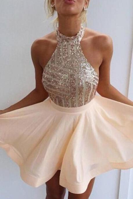 A-Line High Neck Homecoming Dress,Cheap Beading Short Champagne Chiffon Homecoming Dress