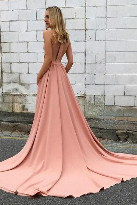 Amazing pink Prom Dress,high neck long prom dress, pink evening dresses,Formal Dress