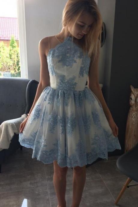 Cute Round Neck Homecoming Dresses,Cheap Prom Dress,Short Blue Lace Appliques Homecoming Dress