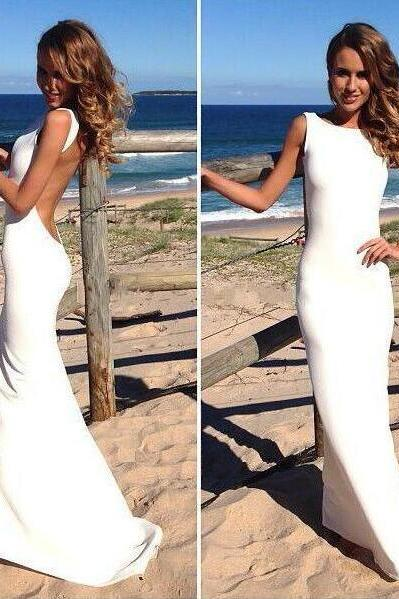 White Open Back Satin Prom Dress, Swxy Evening Dresses,Cheap White Prom Dress, Formal Gowns