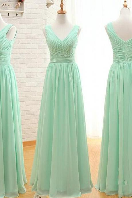 Discount Mint Green Bridesmaid Dress,V-neckline Bridesmaid Dress,Floor length V-neckline Party Dress