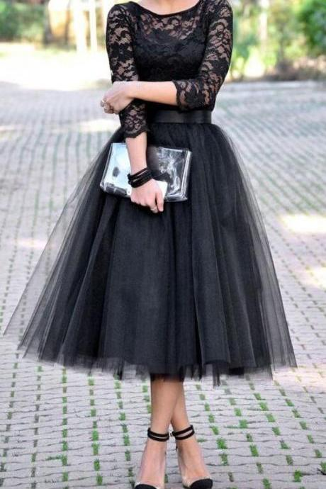 Long Sleeve Lace Prom Dress,Tulle Cheap Prom Dress,Lace Prom Dress,Fashion Prom Dress, Party Dress 2017