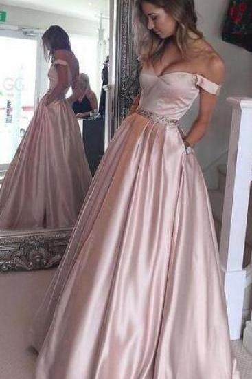 Beauty Off Shoulder Backless Prom Dress,Beaded Waist Long Prom Dress,Wedding Party Dress