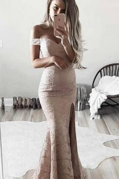 Off Shoulder Sleeves Blush Lace Slit Prom Dress, Mermaid Blush Pink Prom Dress, Lace Sexy Slit Prom Dresses, Woman Evening Dress, Formal Dresses
