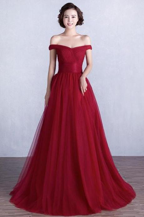 Beauty Burgundy Prom Dress,Cheap Prom Dress, Long Tulle Prom Gowns, Real Sample Prom Dress, Off the Shoulder Prom Dresses, Tulle Formal Party Evening Gown, Robe de Soiree