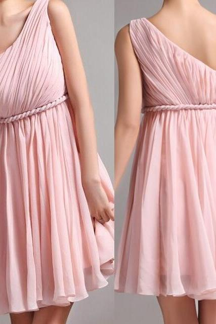 Fashion A-Line Chiffon Long Bridesmaid Dress ,Cheap One-Shoulder Bridesmaid Dress Short Party Dress