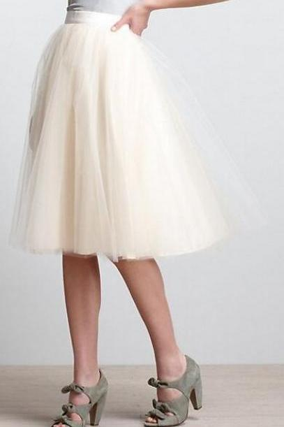 High Rise Knee Length A-Line Tulle Skirt