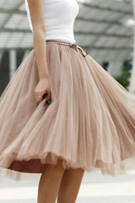 Fashion Skirt,Tulle Skirt,Charming Street Style Women Skirt,spring Autumn Skirt ,A-Line Skirt