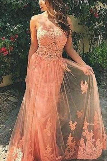Sweep Train Prom Dresses 2017,Sweetheart Sheer Tulle Lace Prom dress, Lace Appliques Evening Dresses 2017,Evening Party Dresses,Lace Gowns