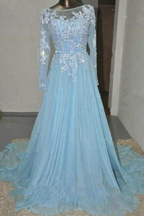Long Sleeves Prom Dress,Sexy Prom Dress,A-Line Cheap Prom Dress,Appliques Prom Dress,Chiffon Prom Dress