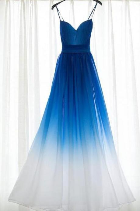 Spaghetti Strap Royal Blue Ombre Bridesmaid Dresses,Long Chiffon Bridesmaid Dress,Royal Blue Ombre Prom Dress,A-line Prom Dresses,Sweetheart Bridesmaid Dress,Bridesmaid Dress