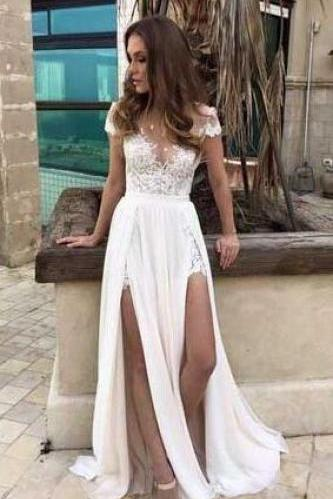 Sexy White Prom Dress,Chiffon Lace Prom Dress,Cheap Short Sleeves Prom Dresses, Wnhite Evening Dress, Prom Dress