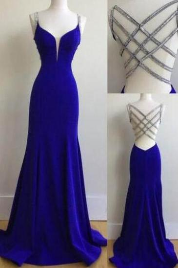 Sexy Spaghetti Straps Prom Dresses, Royal Blue Cheap Prom Dresses, Long Prom Dress with Beading,Sexy Evening Dresses,Prom Dress