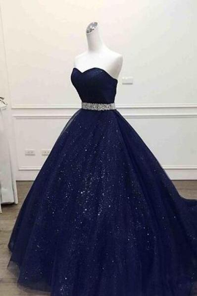 Dark Blue tulle Prom Dresses,Sweetheart Cheap Prom Dresses,Sequins Floor-length Prom Dresses.Ball Gown Prom Dress, Quinceanera Dresses,Prom Dress