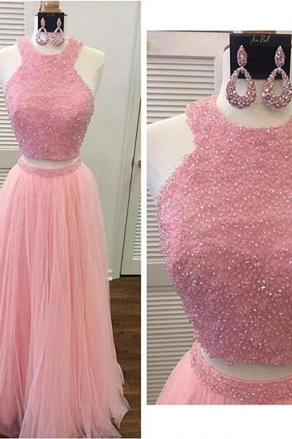 Lovely Sexy Two piece Prom Dresses, Tulle Cheap Prom Dress,Beading Crystal Prom Dresses