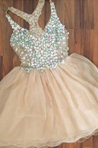 Short Homecoming Dresses,Rhinestone Tulle Homecoming Dress,Juniors Homecoming Dress,Organza Homecoming Dress