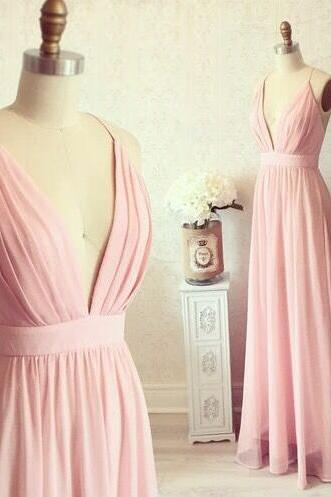 Charming Bridesmaid Dress,Deep V Neck Cheap Prom Dress,Pink Prom Dress,Cheap Dress,Chiffon Prom Dress,Beautiful Evening Dress