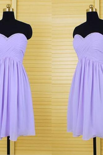 Charming Bridesmaid Dress,Short Beading Prom Dress,Homecoming Dress,Pretty Girl Dress,Chiffon Bridemaid Dress