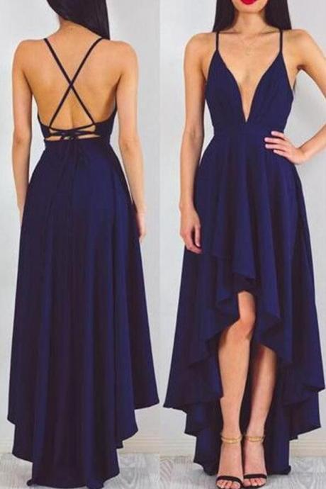 High Low Navy Prom Dress Party Dress,Spaghetti Strap Fashion Prom Dress,Backless Prom Dress,Sexy Party Dress,New Style Evening Dress