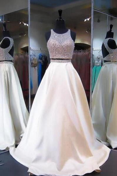 Elegant Two Pieces Prom Dress,Beaded Prom Dress,Ivory Long Prom Dress,Open Back Two-Piece Prom Dress