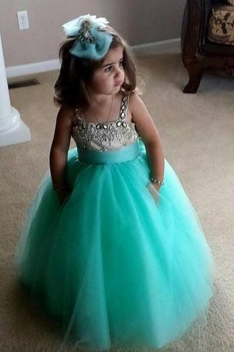 Beaded Flower Gril's dress,Custom Flower Girl Dress,Girl's Birthday Party Dress,Girls Pageant Gown,Handmade Flower Girl dress,Lovely Green Flower Girl dress