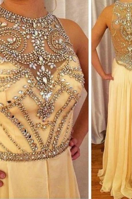 Sexy Beading Prom Dress,Chiffon Prom Dress,Yellow Prom Dress,Long party dress