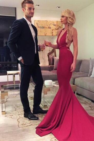 Red Prom Evening Dress,Mermaid Prom Dress,Long Prom Dress,V-Neck Formal Evening Dress,Criss Cross Back Prom Dresses,Satin Evening Dress,Prom Dresses