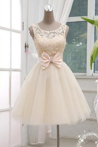 Charming Short prom Dress, Champagne Lace Ball Gown Knee Lenth Prom Dress, Lace Prom Dress, Homecoming Dresses