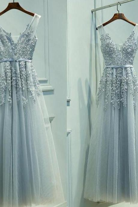 Elegant Grey Tulle Cheap Prom Dress,Beauty V-neckline Floor Length Prom Dress,Party Gown with Lace Applique, Grey Prom Dresses 2018, Tulle Formal Gowns