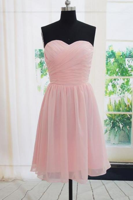 Handmade Short Bridesmaid Dress,Cheap Simple Pink Bridesmaid Dresses, Pink Bridesmaid Dreses, Simple Prom Dresses, Wedding Party Dresses