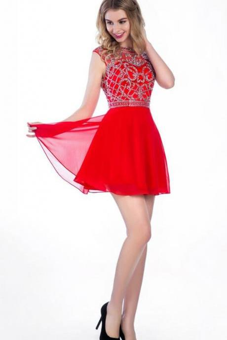 Scoop Backless Short Homecoming Dress,A-line Chiffon Homecoming Dresses,Beaded Sleeveless Prom Dress,red homecoming dresses
