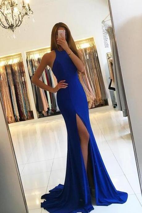 Sexy Mermaid Royal Blue Prom Dress,Halter Sleeveless Mermaid Prom Dress,Sexy Jersey Formal Gown With Cut Out Back