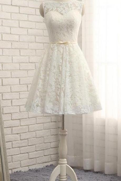 Beauty New Arrival Ivory Lace Prom Dress,Short Homecoming Dress,Bateau Cocktail Party Dress